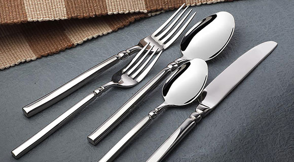 selected stainless steel cutlery on the table